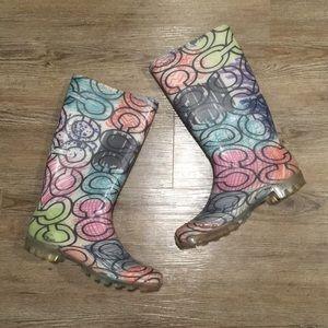 Coach multicolored graffiti print rain boots